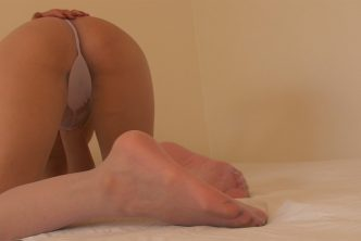 Asian bitch wears pantyhose with no panties doggystyle