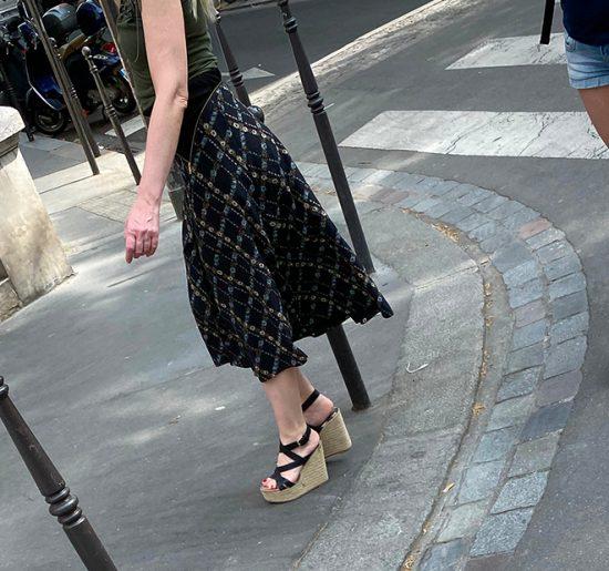 A hot MILF with high heel espadrilles