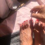 My slutwife paints her toenails red
