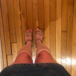 My wife dressed like a whore with flesh knee highs and sandals