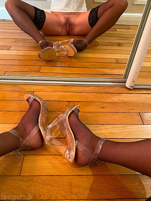 My whore wife with black stockings and transparent shoes