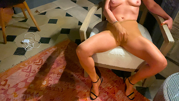 My dirty wife masturbates in her flesh pantyhose