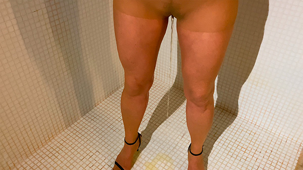 My dirty wife pisses in her flesh pantyhose